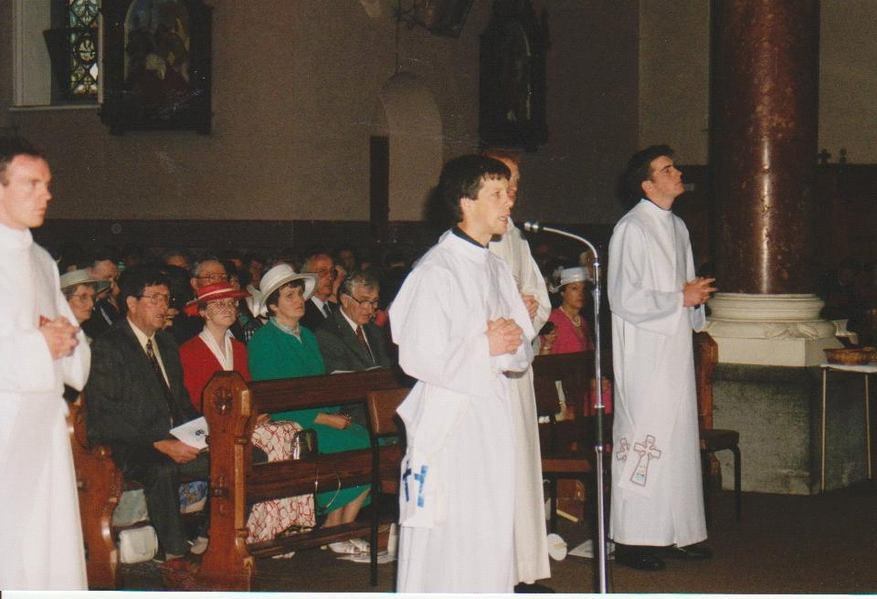Coming to the microphone in Thurles Cathedral to say I was ready and willing for ordination. Almost collapsed with nervousness!!!
