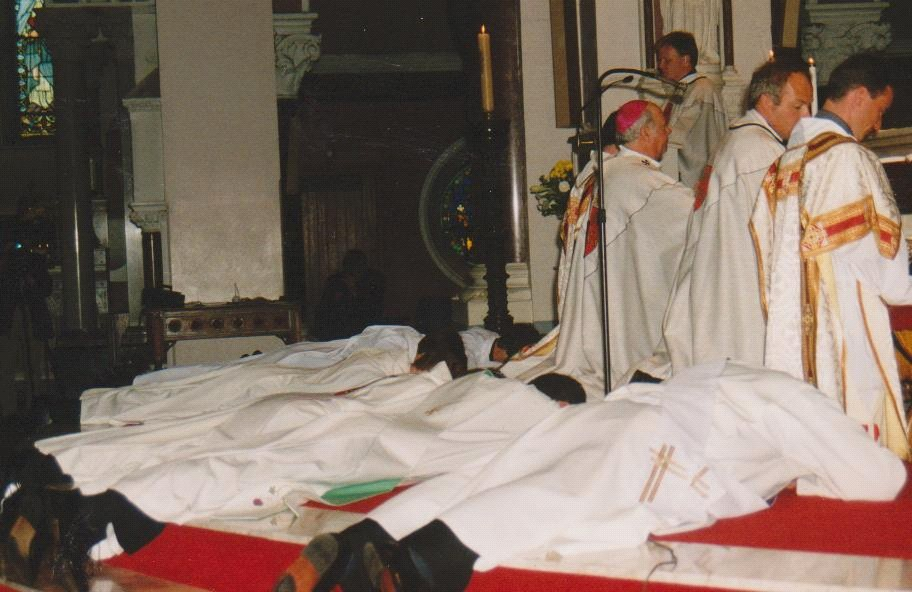 Prostrated before the altar for the Litany of the Saints.